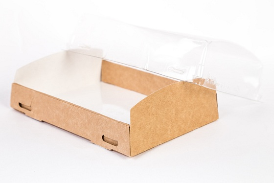 Коробка крафт с прозрачной крышкой185*140*55 мм