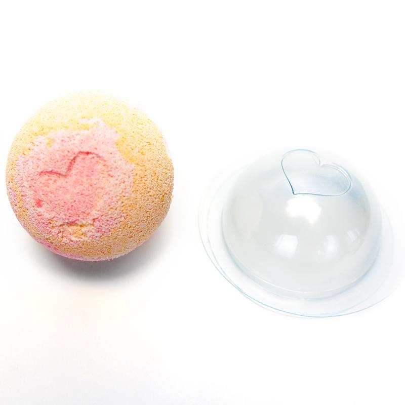 Пластиковая форма для бомбочек сфера сердечко