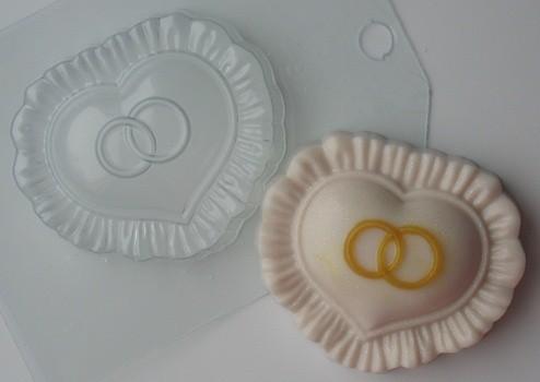 Пластиковая форма Сердце с кольцами