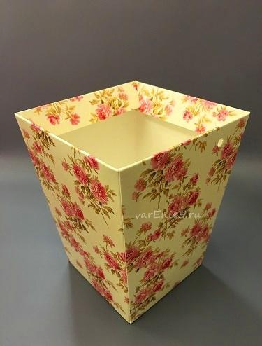 КАШПО_трапеция картон желтый (красные цветы)