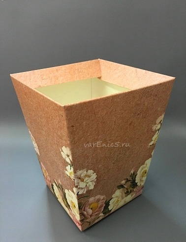 КАШПО_трапеция картон коричневый с розами
