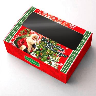 Коробка с окошком Новогодняя