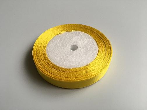 Лента атласная, цвет желтый, 12 мм (20м)