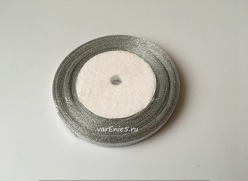 Лента металлизированная, серебро , 6 мм (20м)