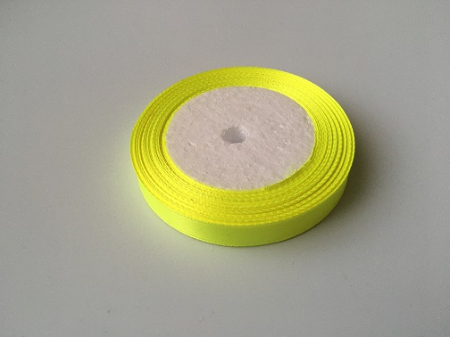 Лента атласная, желтый неон , 12 мм (20м)
