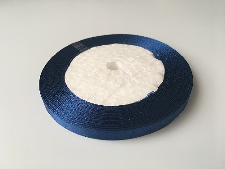 Лента атласная, темно-синяя, 12 мм (20м)