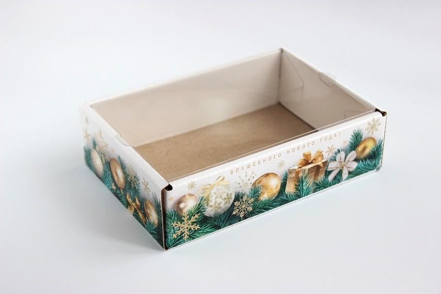 Коробка с прозрачной крышкой Золотые шары