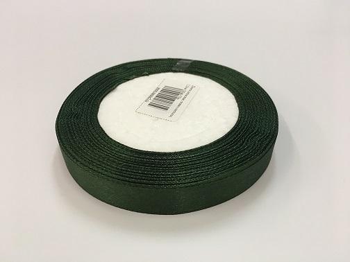Лента атласная, темно-зеленая, 1,2см (20м)