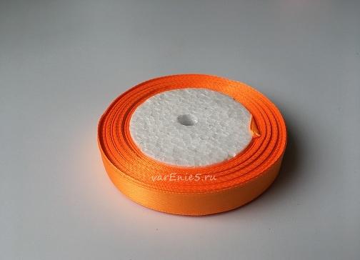 Лента атласная, оранжевый неон , 12 мм (20м)