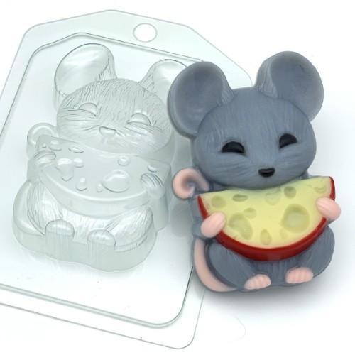 Пластиковая форма Мышка с полукруглым сыром