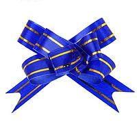 Бант- бабочка синий с золотыми полосками 1,2см, 1 шт