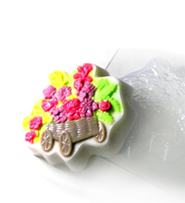 Пластиковая форма Телега с цветами