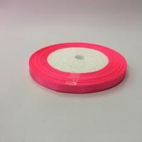 Лента атласная, розовый неон , 6 мм (20м)