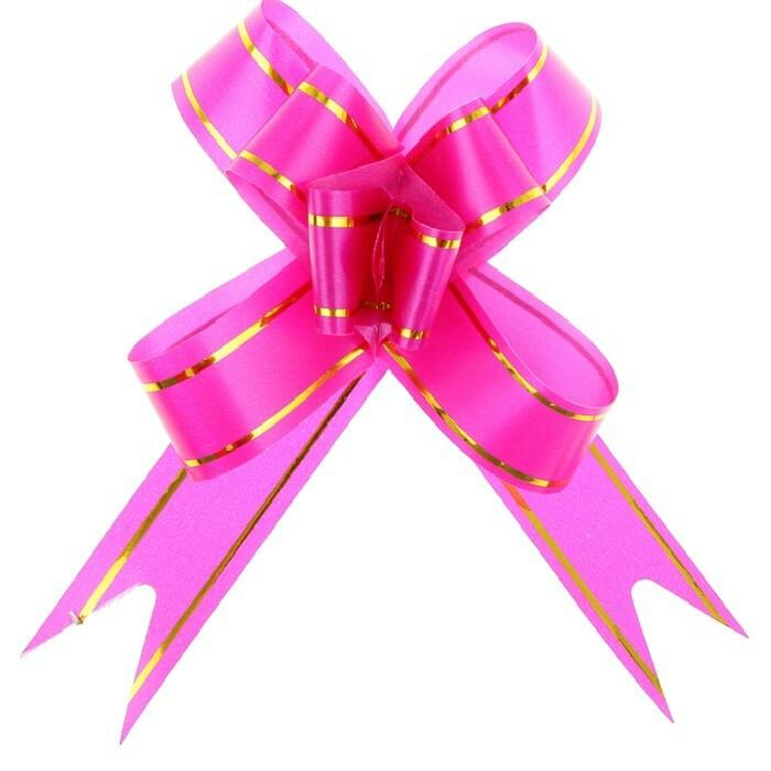 Бант- бабочка розовый с золотыми полосками 1,2см, 1 шт