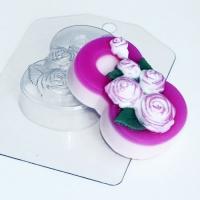 Пластиковая форма 8 марта/Розы по диогонали