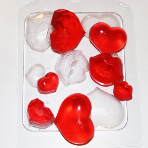 Пластиковая форма сердечки поцелуйчики