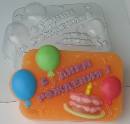 Пластиковая форма С днем рождения