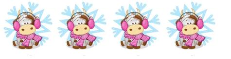 Водорастворимые картинки Коровка в снежинке, 4 шт