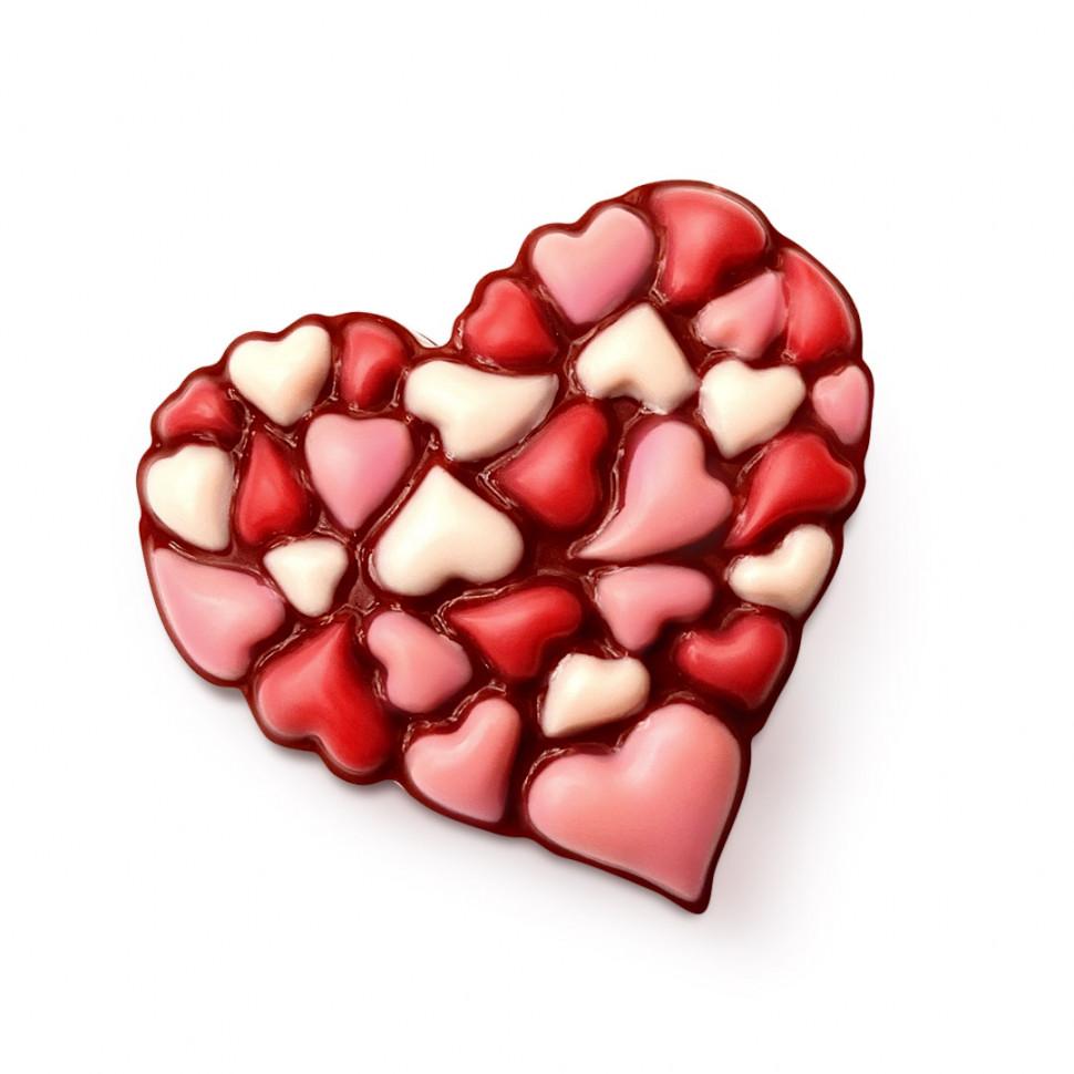 Пластиковая форма 30 сердец