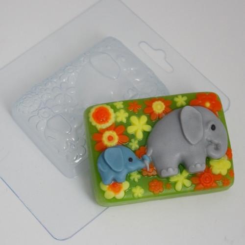Пластиковая форма Слоненок с мамой