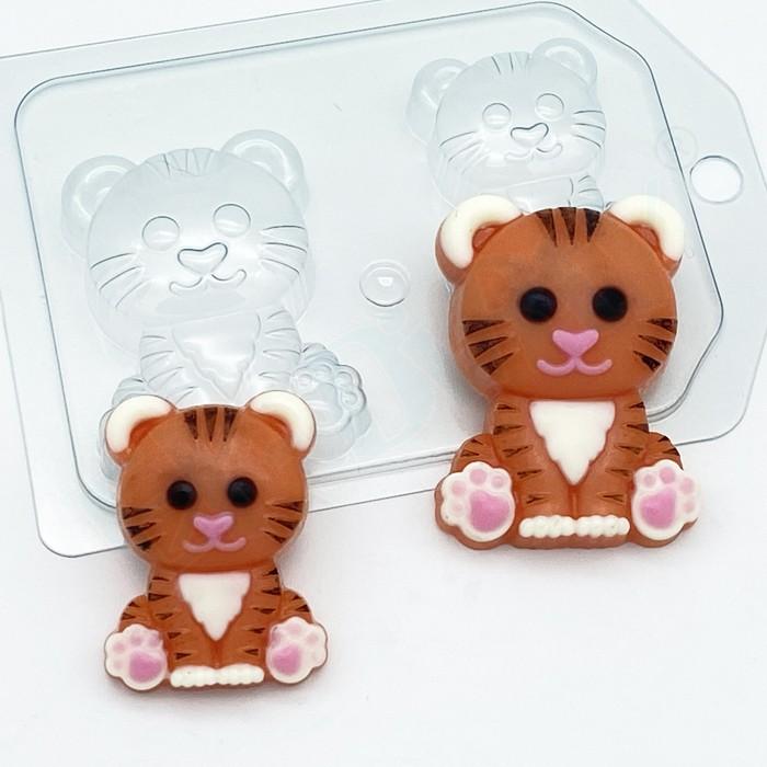 Пластиковая форма Тигр мультяшный сидит/ мини