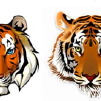 Водоравстворимые картинки Тигр голова, 4шт
