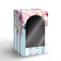 Коробка с окошком вертикаль  цветы