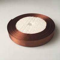 Лента атласная, шоколад, 12 мм (20м)