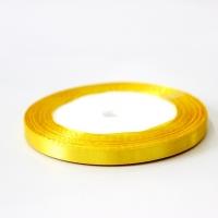 Лента атласная, цвет желтый, 6 мм (20м)