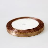 Лента атласная с золотым люрексом, коричневая, 6 мм (20м)