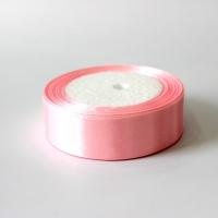 Лента атласная, нежно розовая, 25 мм (20м)
