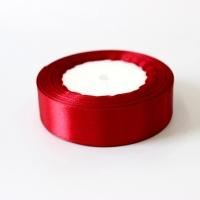 Лента атласная, бордовая, 25 мм (20м)