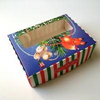 Коробка с окошком Новогодняя с мышкой и бельчонком