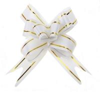 Бант- бабочка белый с золотыми полосками 1,2см, 1 шт